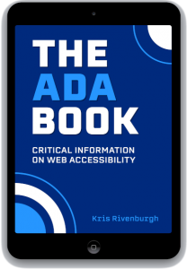 The ADA Book cover displayed on black ipad tablet